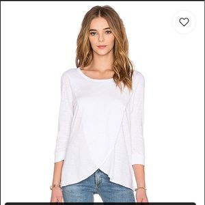 Chaser 3/4 sleeve tulip hem tee in white size XS